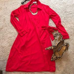 Calvin Klein Red Wrap Dress